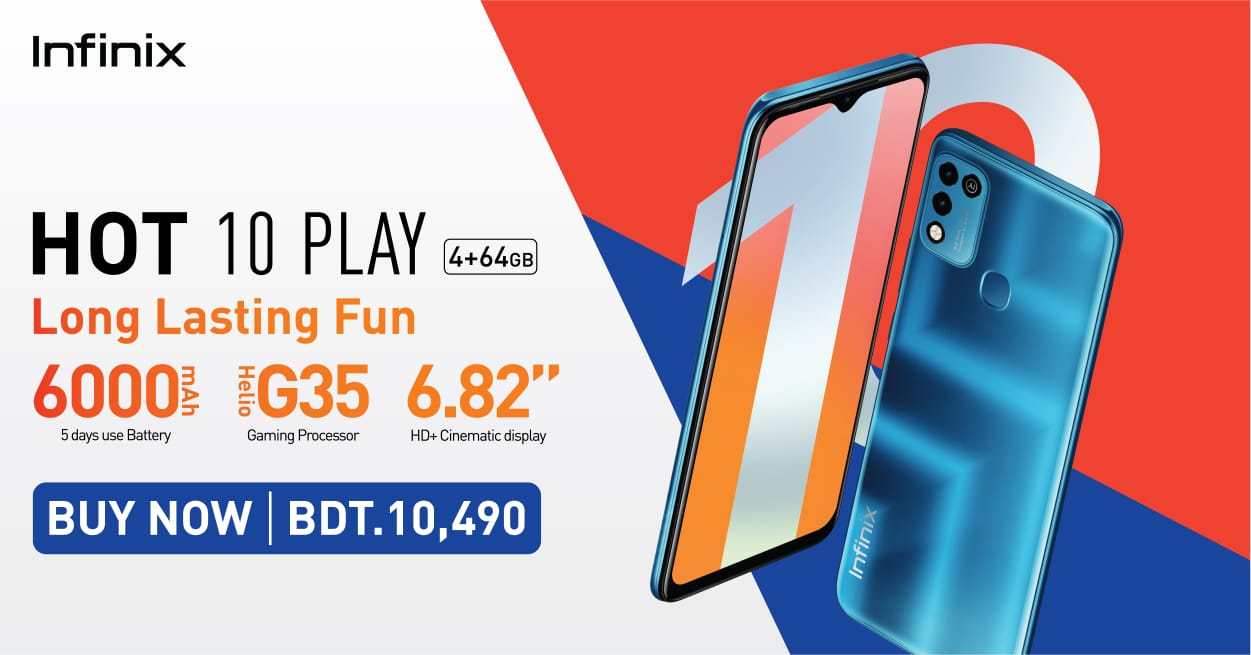 Infinix Launches Hot 10 Play (4GB+64GB) at BDT. 10490